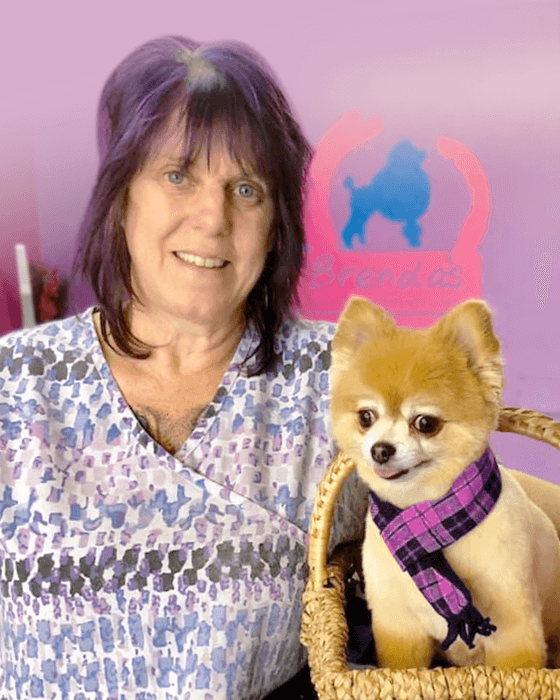 Picture of Brenda Dumesnil, Brenda's Academy of Professional Dog Grooming owner & instructor, beside a small golden dog in a basket